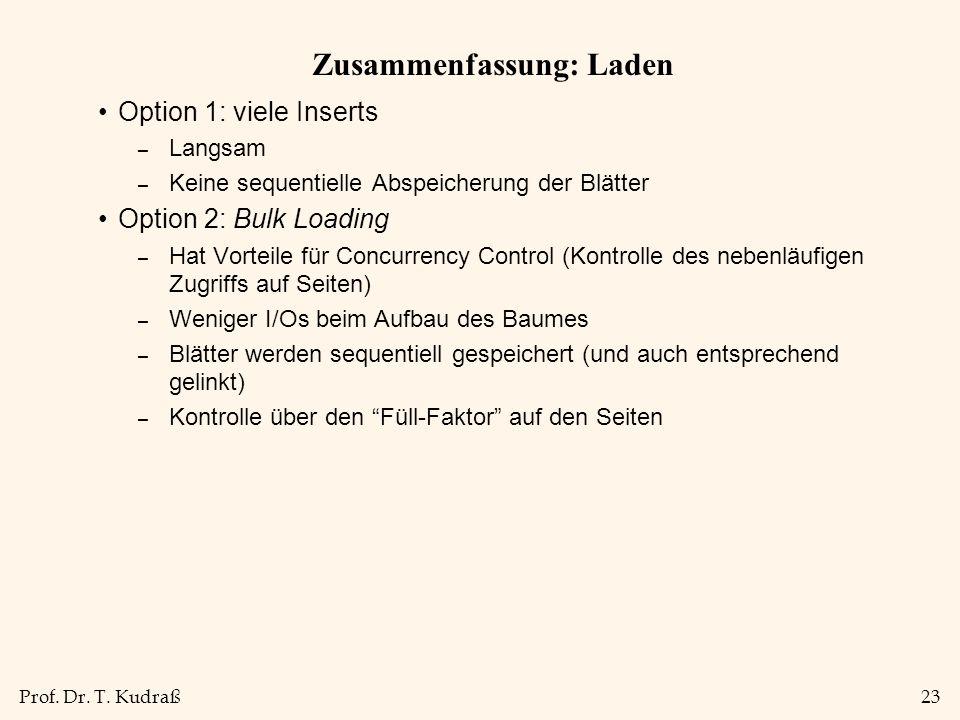 Prof. Dr. T. Kudraß23 Zusammenfassung: Laden Option 1: viele Inserts – Langsam – Keine sequentielle Abspeicherung der Blätter Option 2: Bulk Loading –