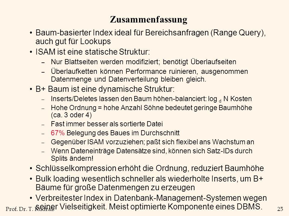 Prof. Dr. T. Kudraß25 Zusammenfassung Baum-basierter Index ideal für Bereichsanfragen (Range Query), auch gut für Lookups ISAM ist eine statische Stru