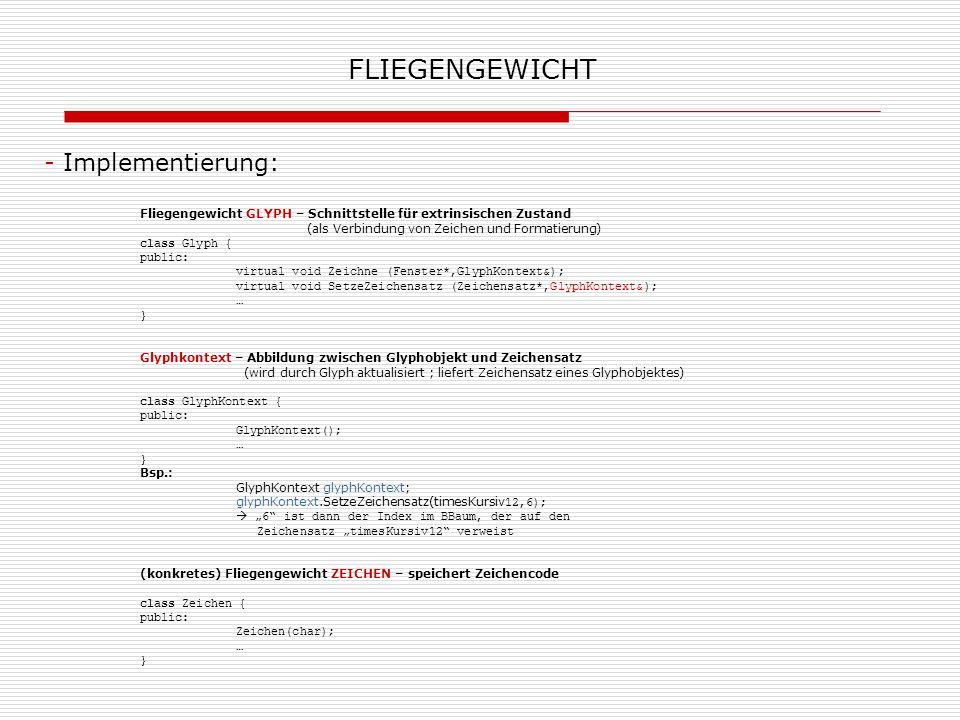FLIEGENGEWICHT - Implementierung: FliegengewichtFabrik – erzeugt Glyphobjekte (sichert gemeinsame Nutzung von Zeichen-Objekten) class GlyphFabrik { public: GlyphFabrik (); virtual Zeichen* ErzeugeZeichen (char); … } ErzeugeZeichen sucht ein Zeichen aus einem Array und gibt das entsprechende Glyphobjekt zurück.