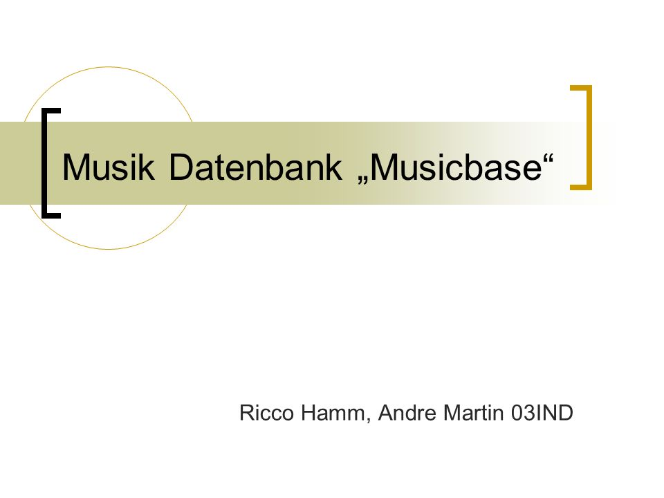 Musik Datenbank Musicbase Ricco Hamm, Andre Martin 03IND