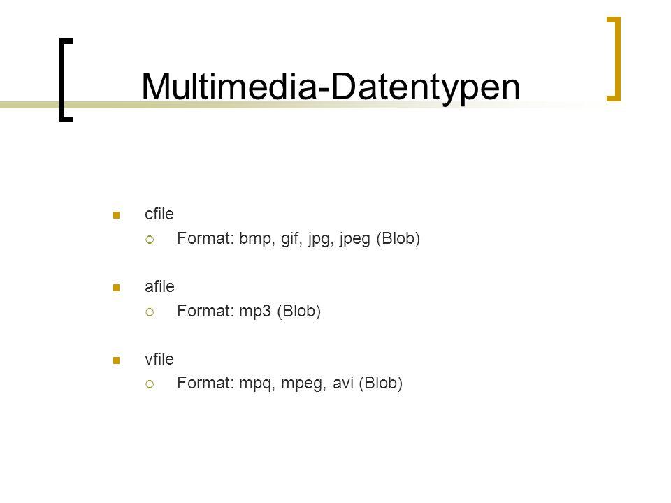 Multimedia-Datentypen cfile Format: bmp, gif, jpg, jpeg (Blob) afile Format: mp3 (Blob) vfile Format: mpq, mpeg, avi (Blob)