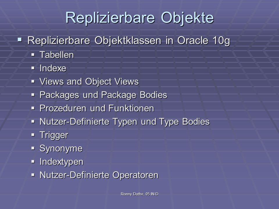 Ronny Dathe, 05 IN-D Replizierbare Objekte Replizierbare Objektklassen in Oracle 10g Replizierbare Objektklassen in Oracle 10g Tabellen Tabellen Index