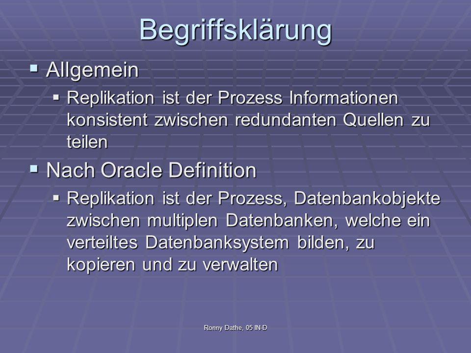 Ronny Dathe, 05 IN-D Begriffsklärung Allgemein Allgemein Replikation ist der Prozess Informationen konsistent zwischen redundanten Quellen zu teilen R