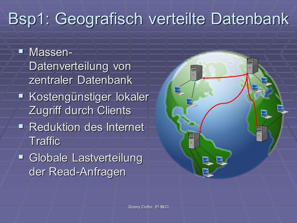 Ronny Dathe, 05 IN-D Bsp1: Geografisch verteilte Datenbank Massen- Datenverteilung von zentraler Datenbank Massen- Datenverteilung von zentraler Daten