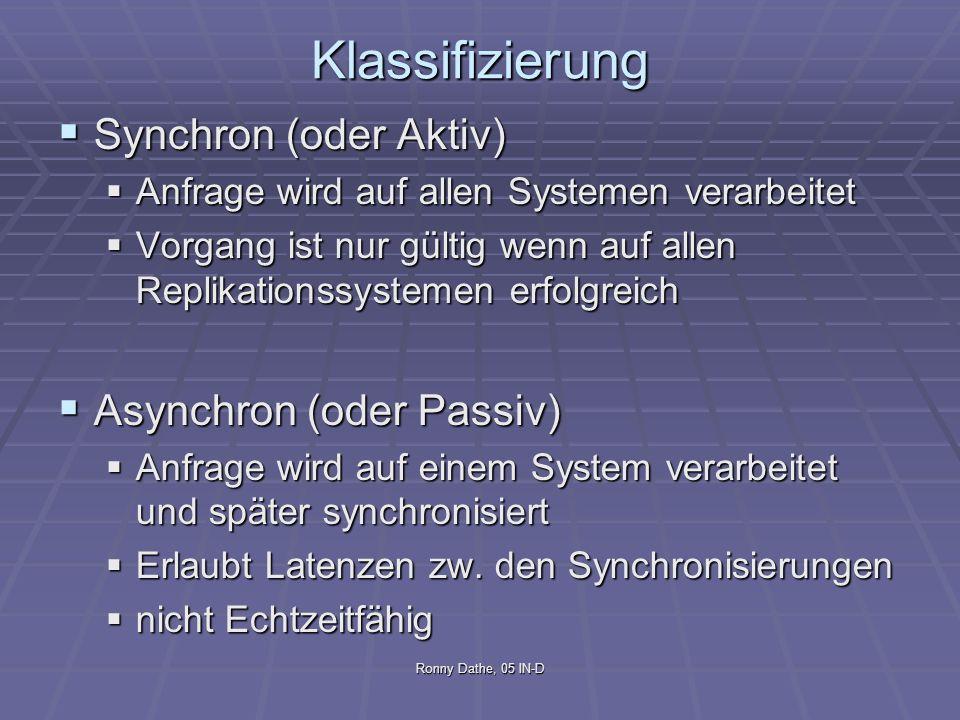 Ronny Dathe, 05 IN-D Klassifizierung Synchron (oder Aktiv) Synchron (oder Aktiv) Anfrage wird auf allen Systemen verarbeitet Anfrage wird auf allen Sy