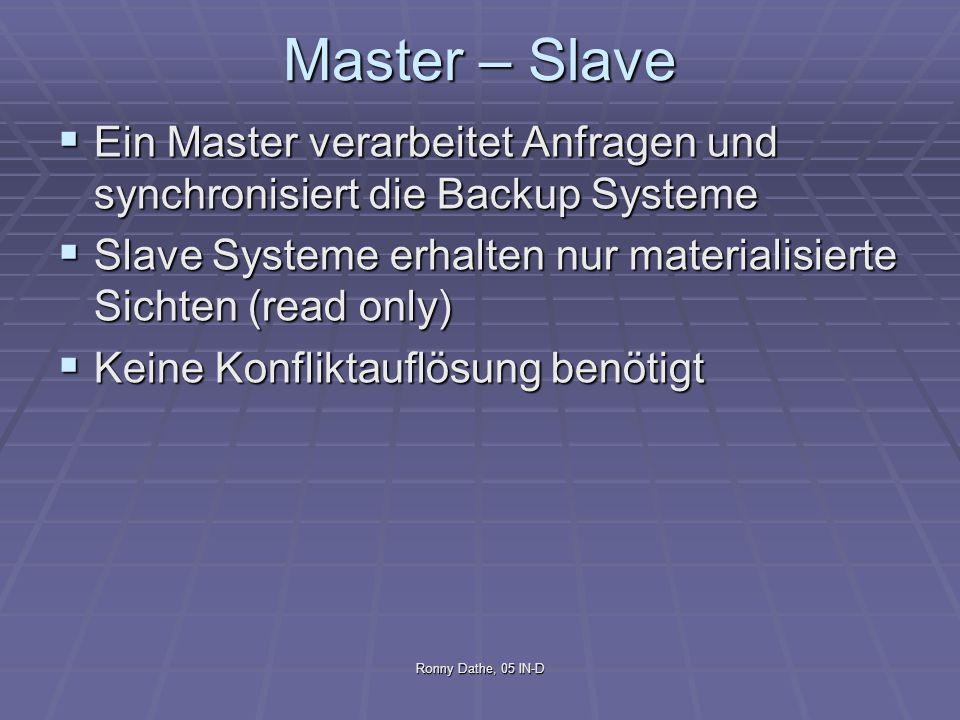 Ronny Dathe, 05 IN-D Master – Slave Ein Master verarbeitet Anfragen und synchronisiert die Backup Systeme Ein Master verarbeitet Anfragen und synchron