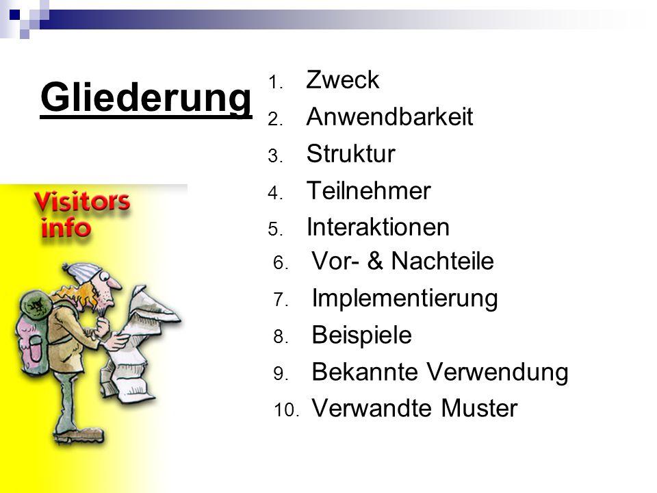 Zusatz (II) public Class Besucher { Void Busreisbesucher(Busreise b); Void Ferienhausbesucher(Ferienhaus f); Void Mietwagenbesucher(Mietwagen m); } Public Class Gesamtpreisbesucher implements Besucher { Gesamtpreisbesucher(); int GibGesamtPreis(); int gesamt=0; Void Busreisebesucher(busreise b) { gesamt += b.getPreis(); } Void Ferienhausbesucher(Ferienhaus f) { gesamt += f.getPreis(); } Void Mietwagenbesucher(Mietwagen m) { gesamt += m.getPreis(); }