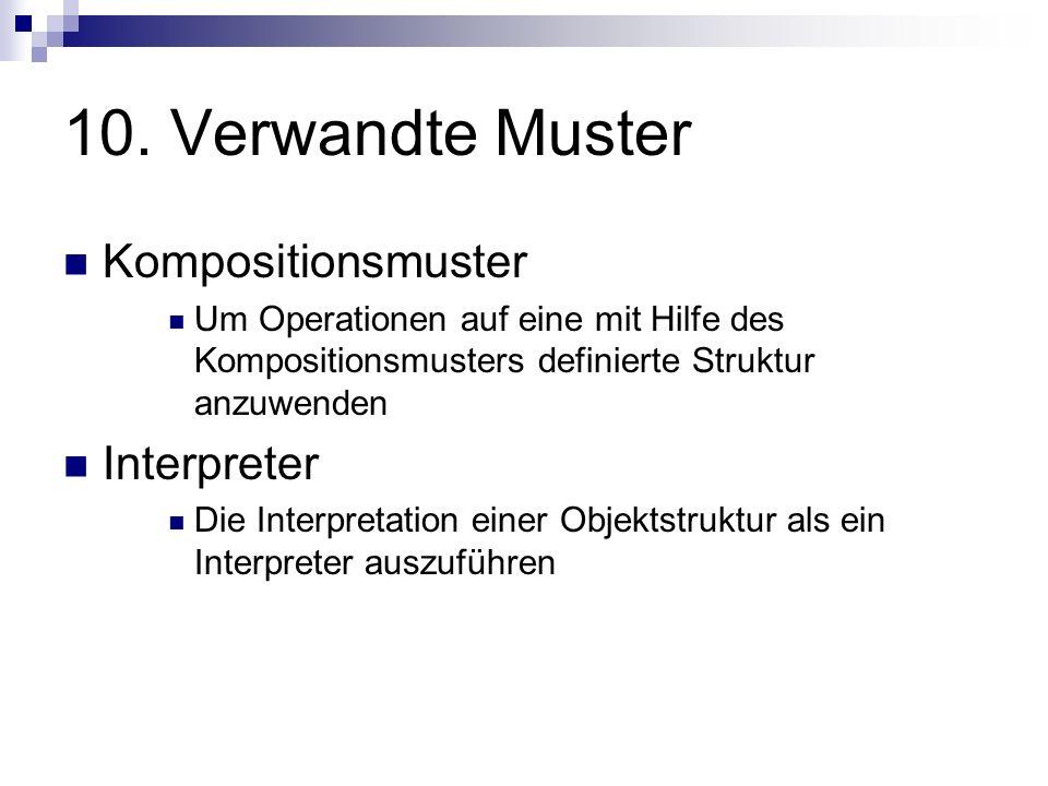 10. Verwandte Muster Kompositionsmuster Um Operationen auf eine mit Hilfe des Kompositionsmusters definierte Struktur anzuwenden Interpreter Die Inter
