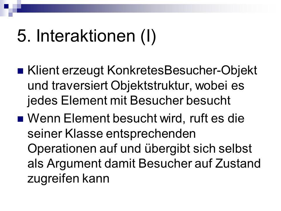 5. Interaktionen (I) Klient erzeugt KonkretesBesucher-Objekt und traversiert Objektstruktur, wobei es jedes Element mit Besucher besucht Wenn Element