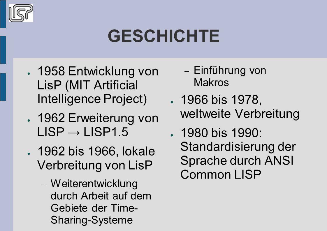 GESCHICHTE 1958 Entwicklung von LisP (MIT Artificial Intelligence Project) 1962 Erweiterung von LISP LISP1.5 1962 bis 1966, lokale Verbreitung von LisP – Weiterentwicklung durch Arbeit auf dem Gebiete der Time- Sharing-Systeme – Einführung von Makros 1966 bis 1978, weltweite Verbreitung 1980 bis 1990: Standardisierung der Sprache durch ANSI Common LISP