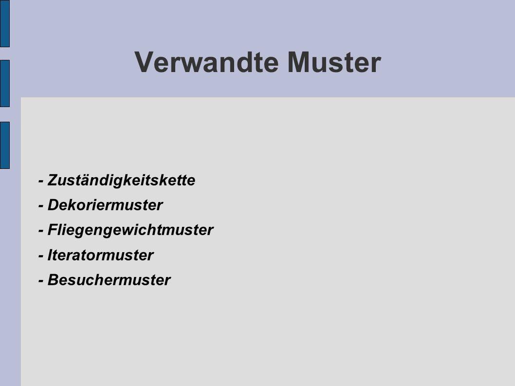 Verwandte Muster - Zuständigkeitskette - Dekoriermuster - Fliegengewichtmuster - Iteratormuster - Besuchermuster