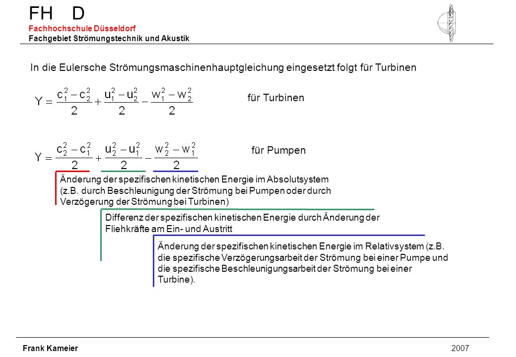 FH D Fachhochschule Düsseldorf Fachgebiet Strömungstechnik und Akustik Frank Kameier 2007 In die Eulersche Strömungsmaschinenhauptgleichung eingesetzt folgt für Turbinen für Turbinen für Pumpen Änderung der spezifischen kinetischen Energie im Absolutsystem (z.B.