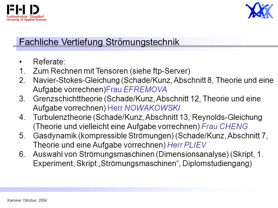 Kameier Oktober 2004 Fachliche Vertiefung Strömungstechnik Referate: 1.Zum Rechnen mit Tensoren (siehe ftp-Server) 2.Navier-Stokes-Gleichung (Schade/K