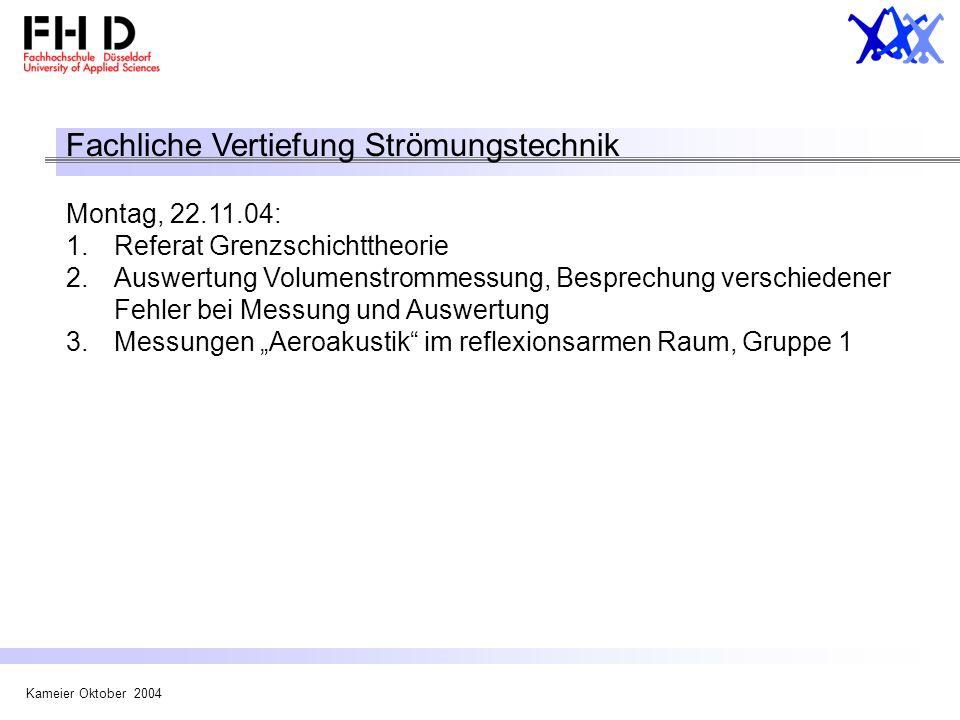 Kameier Oktober 2004 Fachliche Vertiefung Strömungstechnik Montag, 22.11.04: 1.Referat Grenzschichttheorie 2.Auswertung Volumenstrommessung, Besprechu