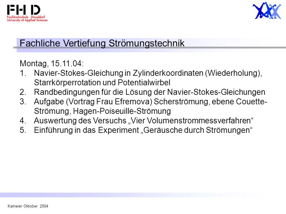 Kameier Oktober 2004 Fachliche Vertiefung Strömungstechnik Montag, 15.11.04: 1.Navier-Stokes-Gleichung in Zylinderkoordinaten (Wiederholung), Starrkör