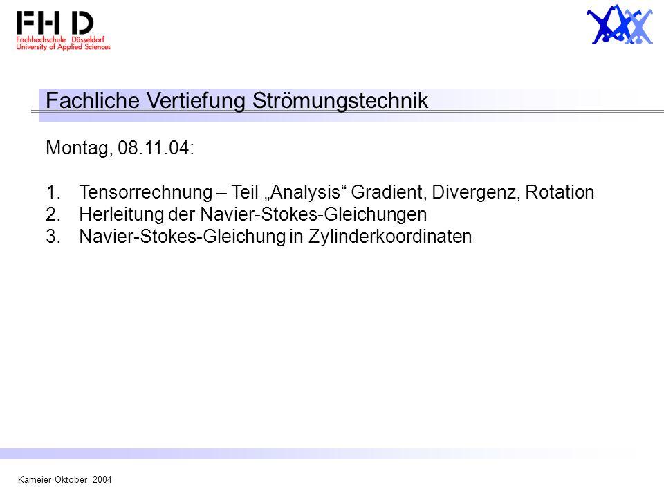Kameier Oktober 2004 Fachliche Vertiefung Strömungstechnik Montag, 08.11.04: 1.Tensorrechnung – Teil Analysis Gradient, Divergenz, Rotation 2.Herleitu
