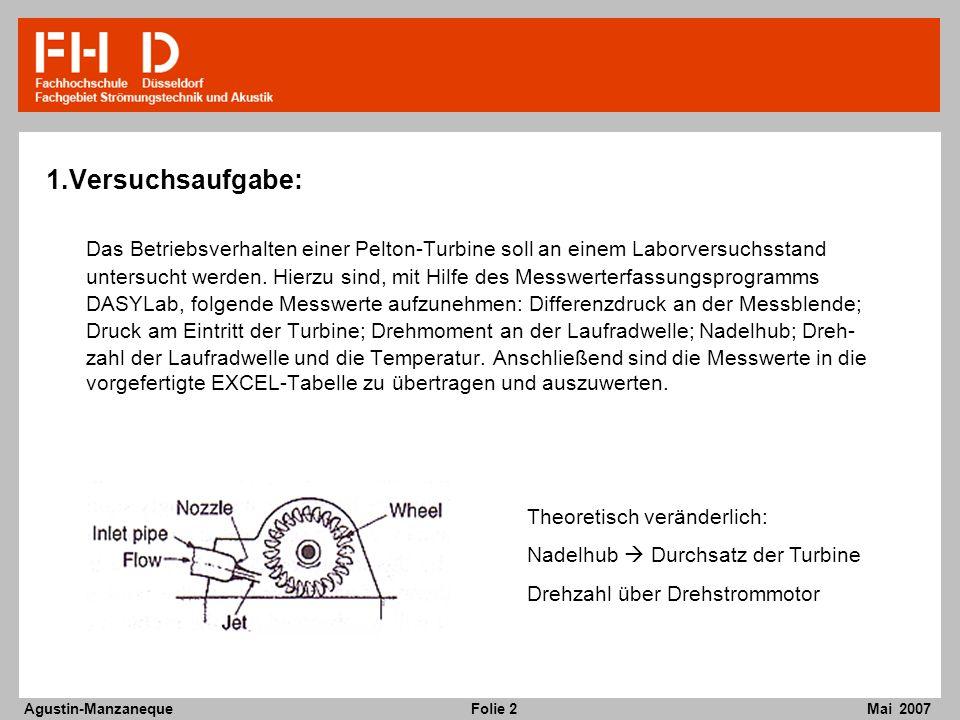 Folie 2 Agustin-Manzaneque Mai 2007 1.Versuchsaufgabe: Das Betriebsverhalten einer Pelton-Turbine soll an einem Laborversuchsstand untersucht werden.