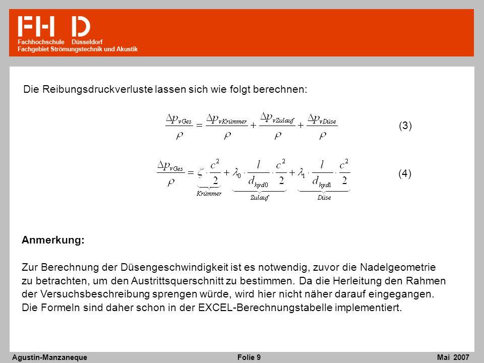 Folie 9 Agustin-Manzaneque Mai 2007 Die Reibungsdruckverluste lassen sich wie folgt berechnen: (3) (4) Anmerkung: Zur Berechnung der Düsengeschwindigkeit ist es notwendig, zuvor die Nadelgeometrie zu betrachten, um den Austrittsquerschnitt zu bestimmen.