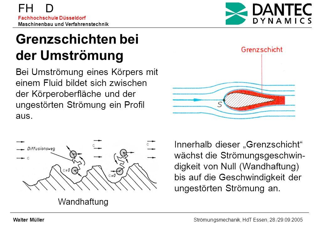 FH D Fachhochschule Düsseldorf Maschinenbau und Verfahrenstechnik Walter Müller Strömungsmechanik, HdT Essen, 28./29.09.2005 Grenzschichten bei der Um