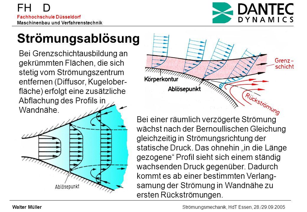 FH D Fachhochschule Düsseldorf Maschinenbau und Verfahrenstechnik Walter Müller Strömungsmechanik, HdT Essen, 28./29.09.2005 Strömungsablösung Bei Gre
