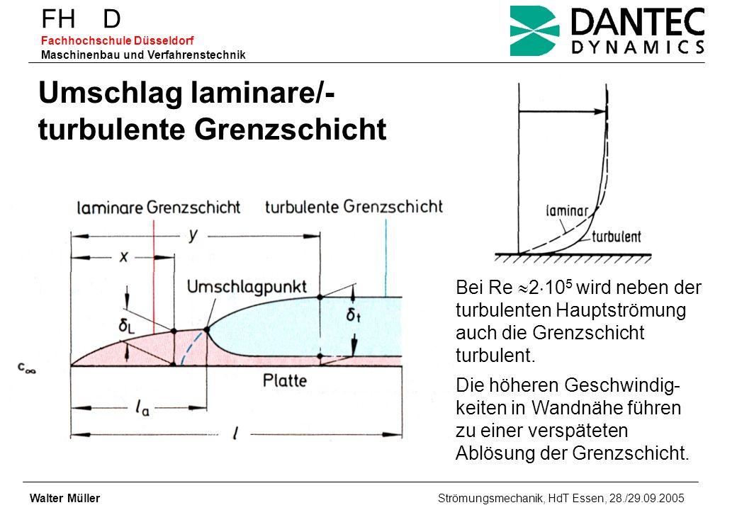 FH D Fachhochschule Düsseldorf Maschinenbau und Verfahrenstechnik Walter Müller Strömungsmechanik, HdT Essen, 28./29.09.2005 Umschlag laminare/- turbu