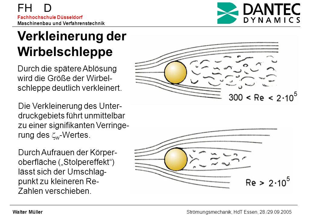 FH D Fachhochschule Düsseldorf Maschinenbau und Verfahrenstechnik Walter Müller Strömungsmechanik, HdT Essen, 28./29.09.2005 Verkleinerung der Wirbels