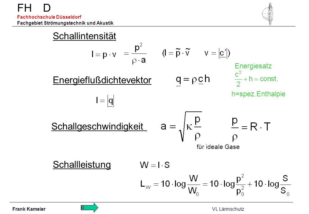 FH D Fachhochschule Düsseldorf Fachgebiet Strömungstechnik und Akustik Schallintensität Schallgeschwindigkeit für ideale Gase Energieflußdichtevektor