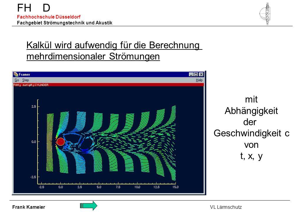 FH D Fachhochschule Düsseldorf Fachgebiet Strömungstechnik und Akustik Kalkül wird aufwendig für die Berechnung mehrdimensionaler Strömungen mit Abhän