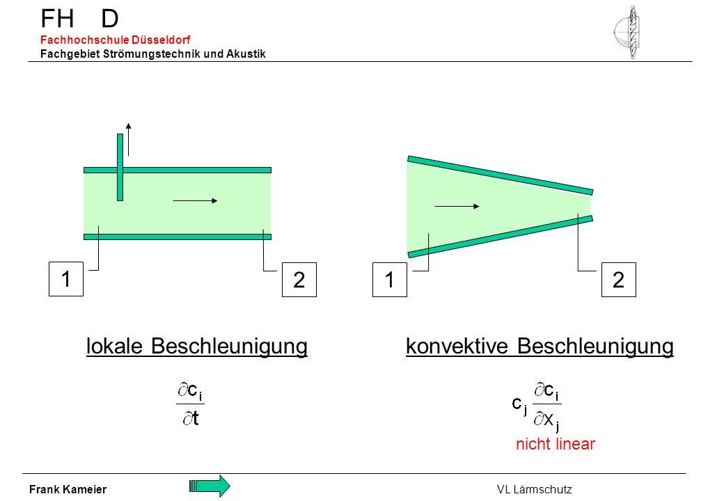 FH D Fachhochschule Düsseldorf Fachgebiet Strömungstechnik und Akustik konvektive Beschleunigung 2 1 2 1 lokale Beschleunigung nicht linear Frank Kame