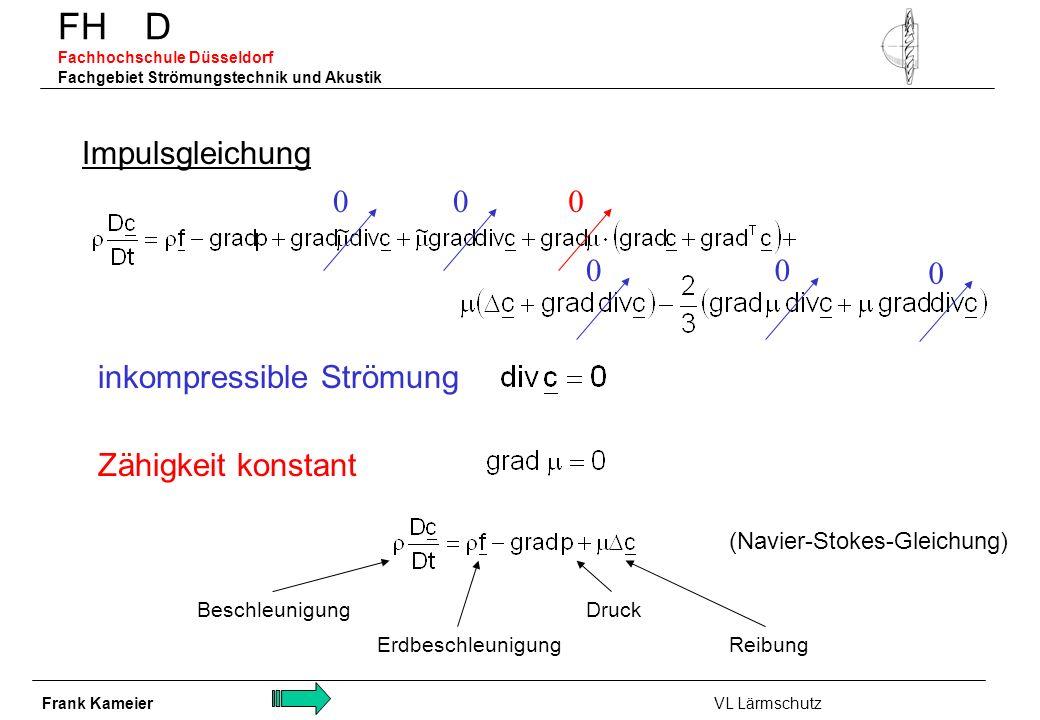 FH D Fachhochschule Düsseldorf Fachgebiet Strömungstechnik und Akustik Impulsgleichung inkompressible Strömung 00 00 0 Zähigkeit konstant 0 Beschleuni
