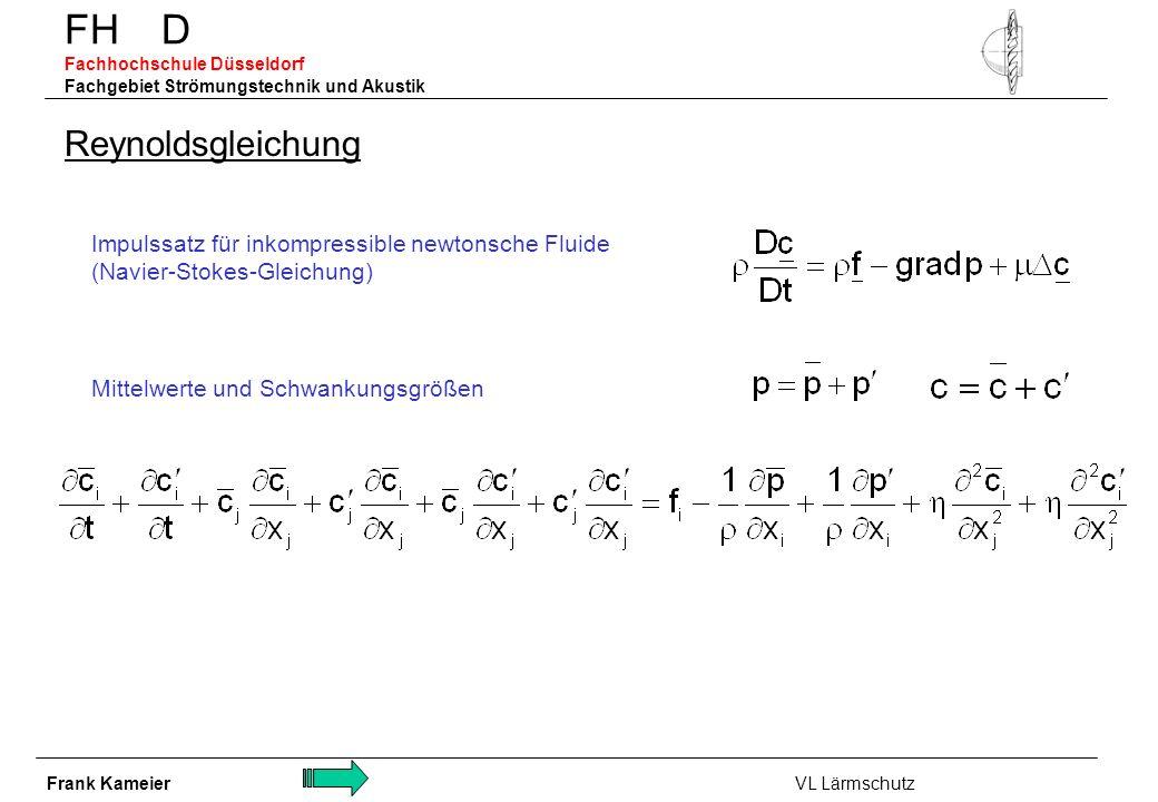 FH D Fachhochschule Düsseldorf Fachgebiet Strömungstechnik und Akustik Reynoldsgleichung Impulssatz für inkompressible newtonsche Fluide (Navier-Stoke