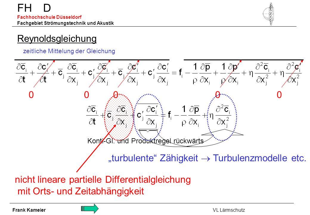 FH D Fachhochschule Düsseldorf Fachgebiet Strömungstechnik und Akustik Reynoldsgleichung turbulente Zähigkeit Turbulenzmodelle etc. zeitliche Mittelun