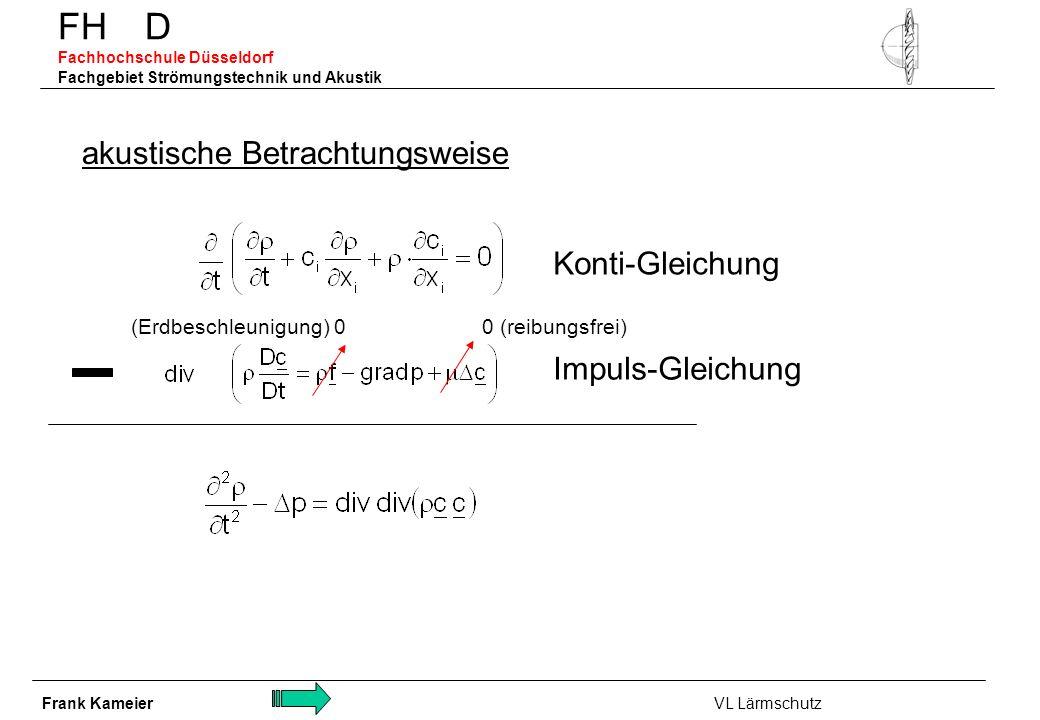 FH D Fachhochschule Düsseldorf Fachgebiet Strömungstechnik und Akustik akustische Betrachtungsweise Konti-Gleichung Impuls-Gleichung 0 (reibungsfrei)(