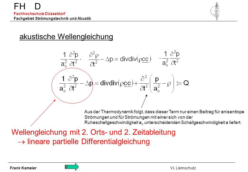 FH D Fachhochschule Düsseldorf Fachgebiet Strömungstechnik und Akustik akustische Wellengleichung Aus der Thermodynamik folgt, dass dieser Term nur ei