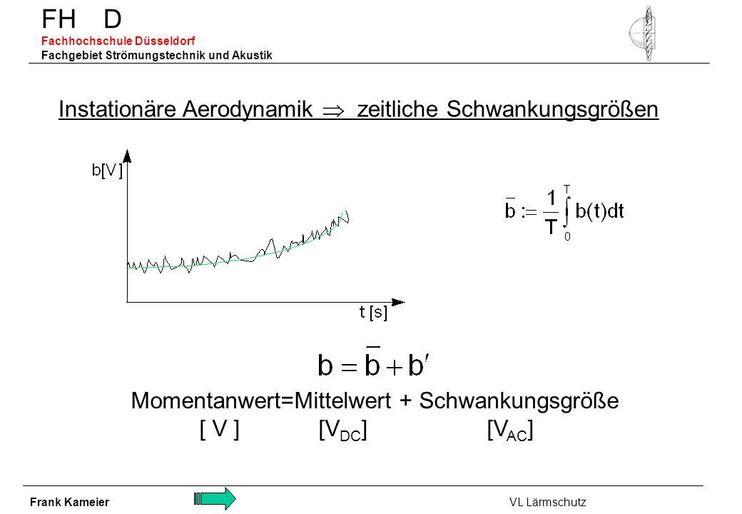 FH D Fachhochschule Düsseldorf Fachgebiet Strömungstechnik und Akustik Momentanwert=Mittelwert + Schwankungsgröße [ V ] [V DC ] [V AC ] Instationäre A