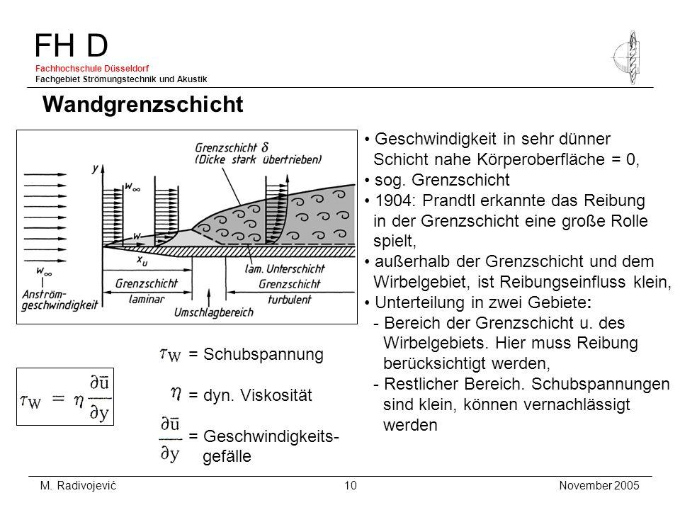 FH D Fachhochschule Düsseldorf Fachgebiet Strömungstechnik und Akustik November 2005 M. Radivojević 10 Wandgrenzschicht Geschwindigkeit in sehr dünner