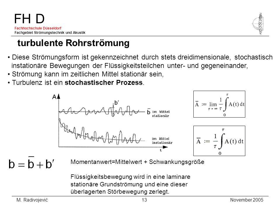 FH D Fachhochschule Düsseldorf Fachgebiet Strömungstechnik und Akustik November 2005 M. Radivojević 13 turbulente Rohrströmung Diese Strömungsform ist