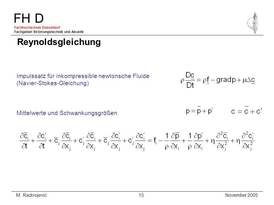 FH D Fachhochschule Düsseldorf Fachgebiet Strömungstechnik und Akustik November 2005 M. Radivojević 15 Reynoldsgleichung Impulssatz für inkompressible