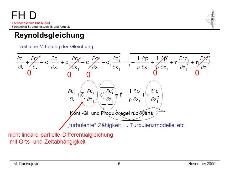 FH D Fachhochschule Düsseldorf Fachgebiet Strömungstechnik und Akustik November 2005 M. Radivojević 16 Reynoldsgleichung zeitliche Mittelung der Gleic