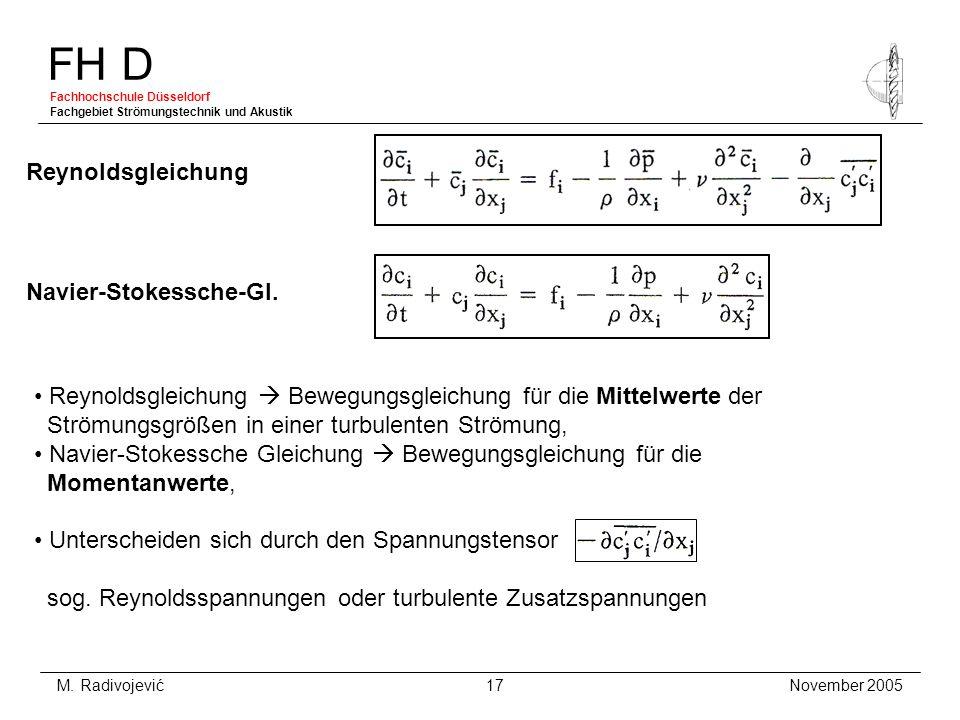 FH D Fachhochschule Düsseldorf Fachgebiet Strömungstechnik und Akustik November 2005 M. Radivojević 17 Reynoldsgleichung Reynoldsgleichung Bewegungsgl