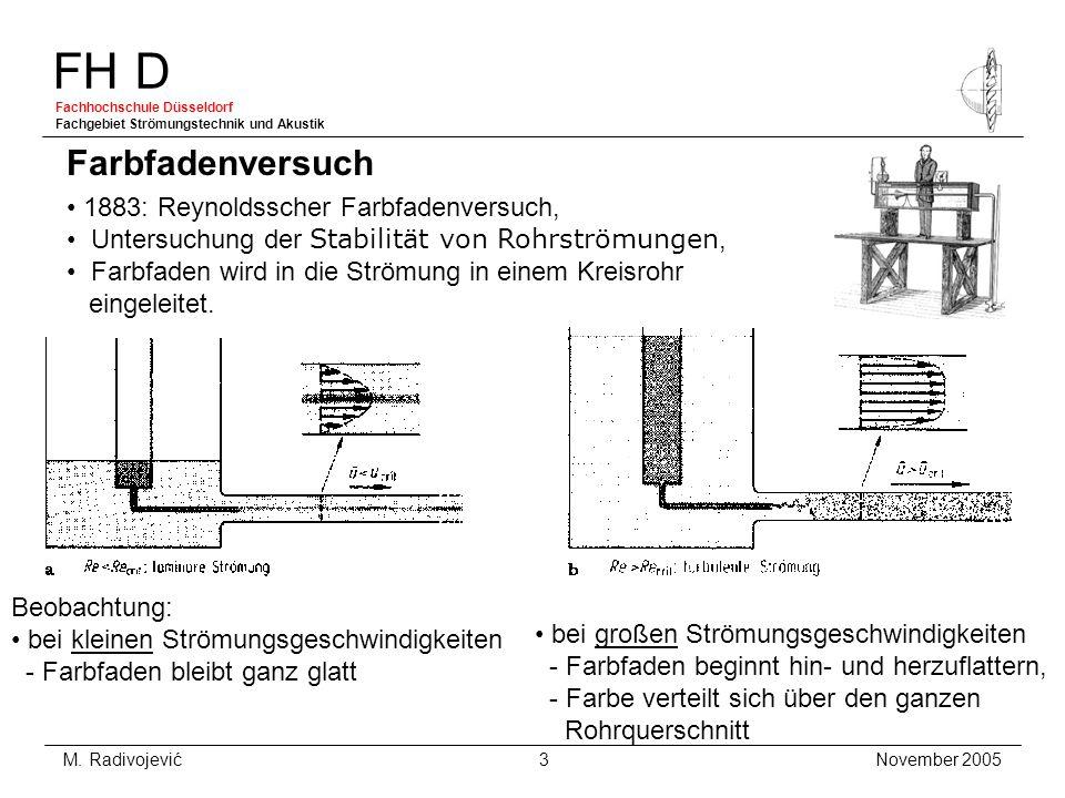 FH D Fachhochschule Düsseldorf Fachgebiet Strömungstechnik und Akustik November 2005 M. Radivojević 3 1883: Reynoldsscher Farbfadenversuch, Untersuchu