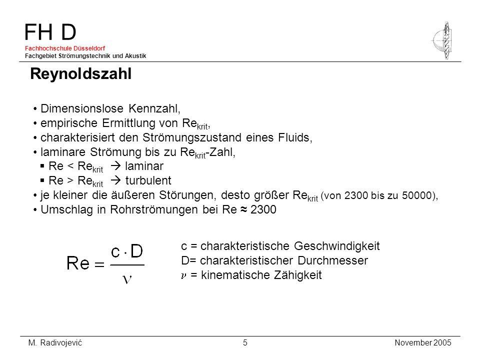 FH D Fachhochschule Düsseldorf Fachgebiet Strömungstechnik und Akustik November 2005 M. Radivojević 5 Dimensionslose Kennzahl, empirische Ermittlung v