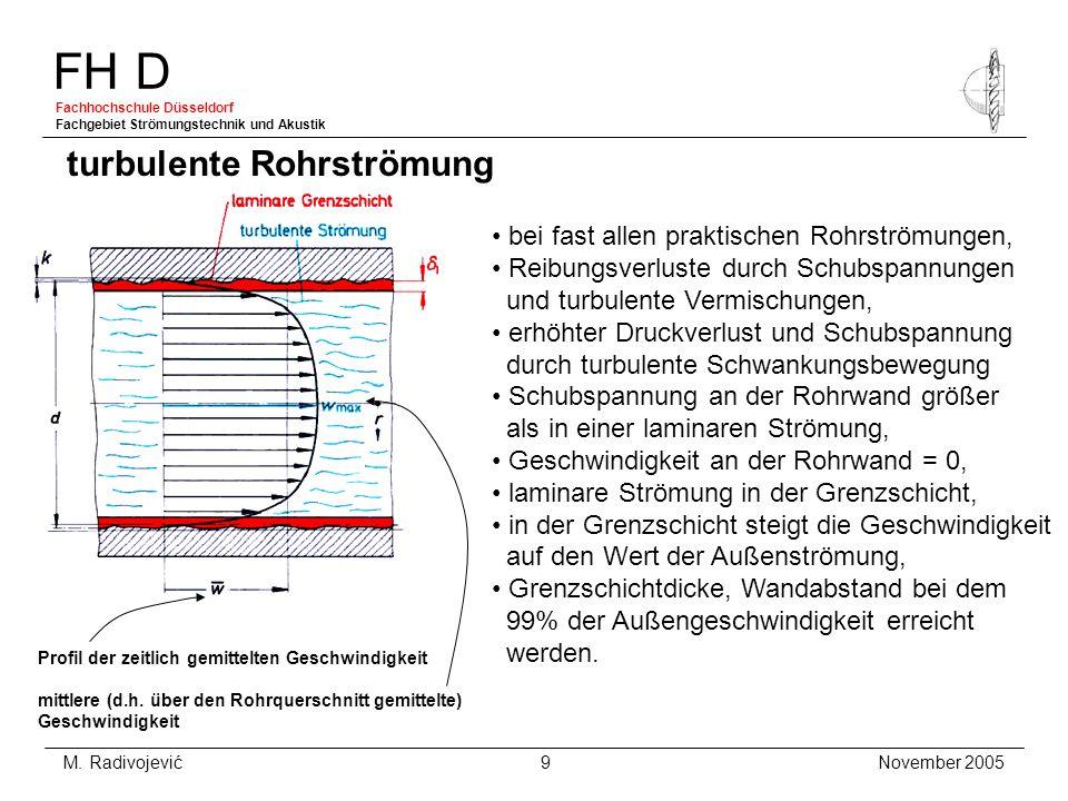 FH D Fachhochschule Düsseldorf Fachgebiet Strömungstechnik und Akustik November 2005 M. Radivojević 9 turbulente Rohrströmung bei fast allen praktisch