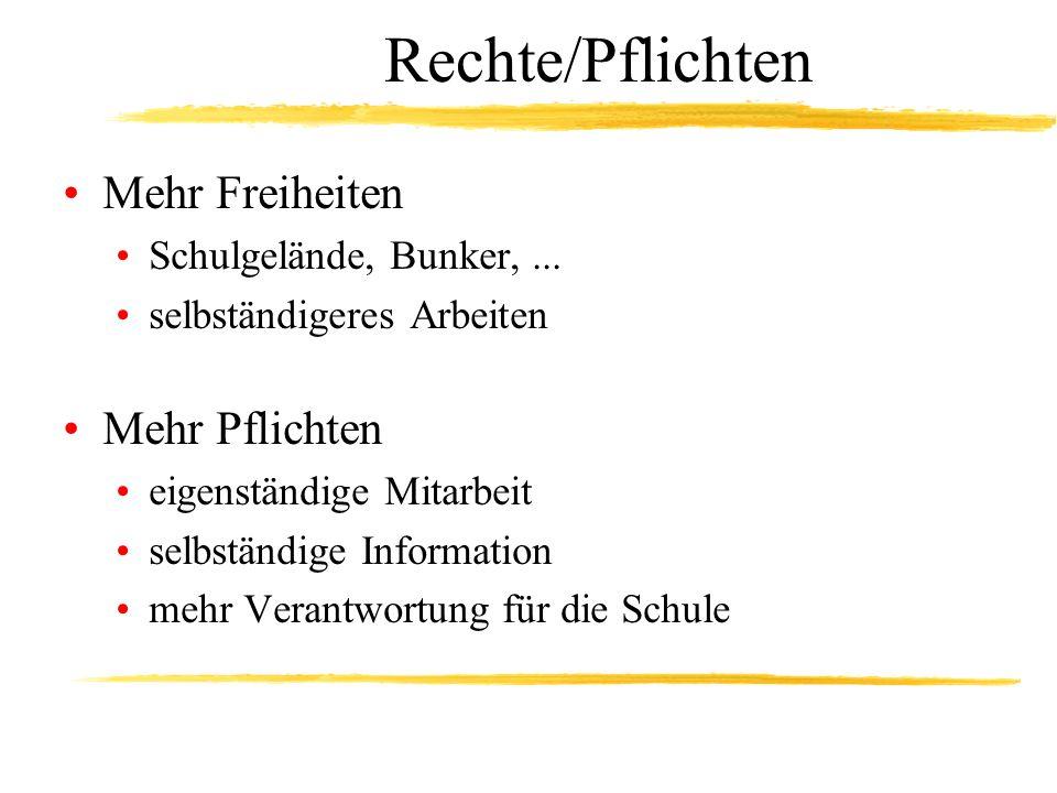 Rechte/Pflichten Mehr Freiheiten Schulgelände, Bunker,...