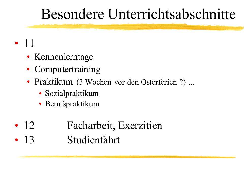 Besondere Unterrichtsabschnitte 11 Kennenlerntage Computertraining Praktikum (3 Wochen vor den Osterferien ?)... Sozialpraktikum Berufspraktikum 12 Fa