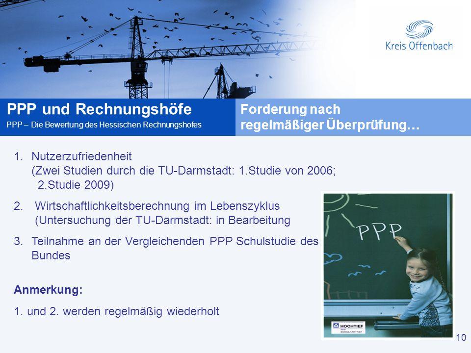 10 PPP und Rechnungshöfe PPP – Die Bewertung des Hessischen Rechnungshofes 10 1.Nutzerzufriedenheit (Zwei Studien durch die TU-Darmstadt: 1.Studie von 2006; 2.Studie 2009) 2.