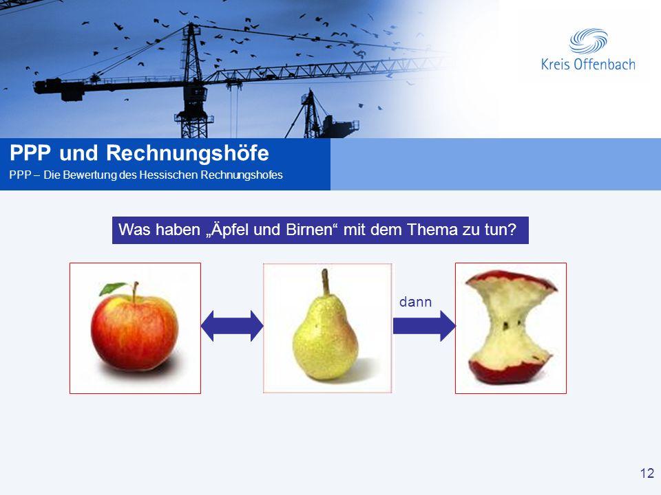 12 PPP und Rechnungshöfe PPP – Die Bewertung des Hessischen Rechnungshofes 12 Was haben Äpfel und Birnen mit dem Thema zu tun.