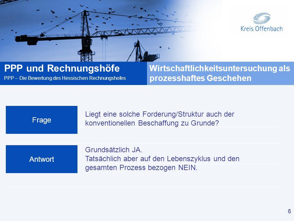 6 PPP und Rechnungshöfe PPP – Die Bewertung des Hessischen Rechnungshofes 6 Liegt eine solche Forderung/Struktur auch der konventionellen Beschaffung zu Grunde.