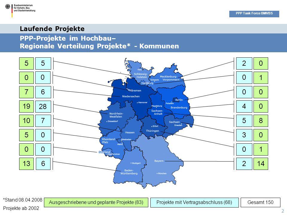 Seitenüberschrift PPP Task Force BMVBS 2 2 0 4 3 5 0 0 0 7 6 0 5 26 28 0 5 0 7 19 10 5 0 1314 1 0 8 0 0 1 0 Ausgeschriebene und geplante Projekte (83)