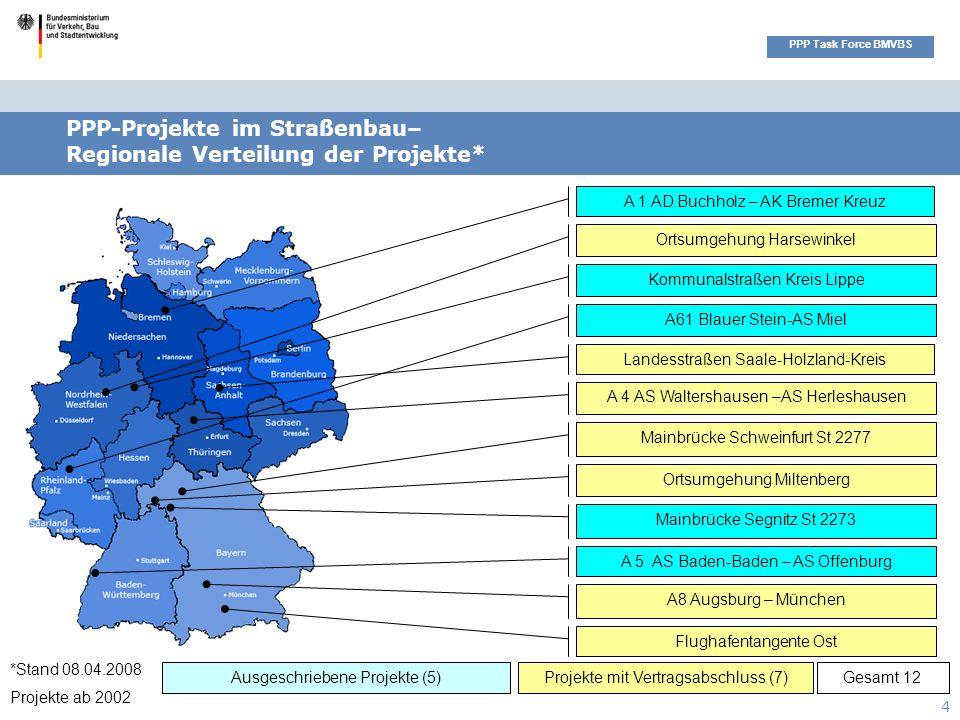 Seitenüberschrift PPP Task Force BMVBS 4 Ortsumgehung Miltenberg Ausgeschriebene Projekte (5)Projekte mit Vertragsabschluss (7) PPP-Projekte im Straße